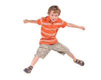 Jumping boy. On the white background Stock Image