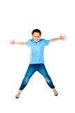 Jumping boy. Isolated on a white background Royalty Free Stock Images