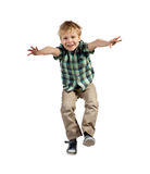 Jumping boy. Happy little boy jumping isolated on white background Stock Photo
