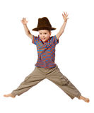 Jumping boy with hat Royalty Free Stock Photo