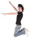 Jumping boy in black 2 Stock Photo