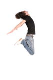 Jumping boy in black 3 Stock Photography