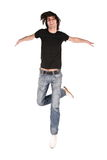 Jumping boy in black Royalty Free Stock Photo