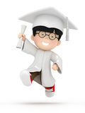 Jumping boy with dilpoma Royalty Free Stock Images
