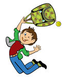 Jumping boy holding school bag. Jumping happy boy holding camouflage school bag,back to school,vertical children illustration isolated on white background Royalty Free Stock Photos