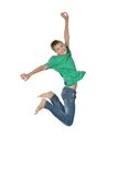 Jumping boy isolated Royalty Free Stock Images