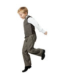 Jumping boy isolated on white Stock Photo