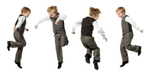 Jumping boy isolated on white Royalty Free Stock Photography