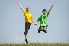 Jumping boys Stock Photo