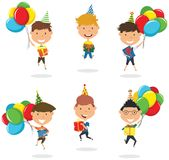 Jumping boys carrying colorful wrapped gift boxes and bright bal Royalty Free Stock Photo