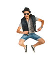 Jumping break dancer man Royalty Free Stock Photos
