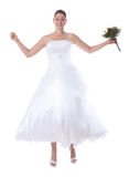 Jumping bride isolated Royalty Free Stock Photography