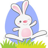 Jumping Bunny. Cartoon Bunny jumping from the grass Stock Images