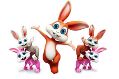 Jumping bunny with other bunny Royalty Free Stock Image