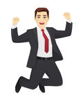 Jumping business man. Happy business man in suit jumping isolated stock illustration