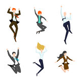 Jumping business people in the air. Happy and Stock Image