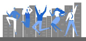Jumping business people stock illustration