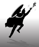Jumping business spartan. Silhouette jumping business spartan with gray background Stock Photos