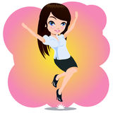 Jumping Business Woman. A business woman jumping with happy face Stock Photos