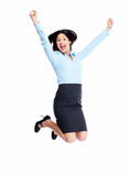 Jumping business woman. Royalty Free Stock Photo