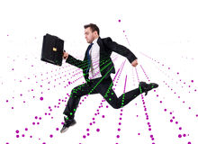 The jumping businessman in abstract concept on white Royalty Free Stock Image