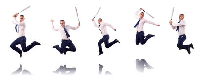 The jumping businessman with baseball bat Royalty Free Stock Photography