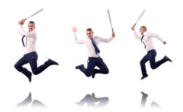 The jumping businessman with baseball bat Royalty Free Stock Image