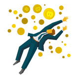 Jumping businessman catch a gold bitcoins Royalty Free Stock Photos