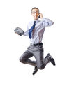 Jumping businessman isolated Royalty Free Stock Image