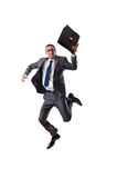Jumping businessman isolated Stock Images