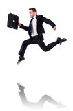 Jumping businessman isolated Stock Photography