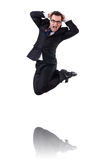 Jumping businessman isolated Stock Photo