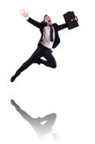 Jumping businessman isolated Royalty Free Stock Photo