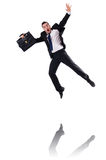 Jumping businessman isolated Royalty Free Stock Photos