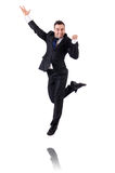 Jumping businessman isolated Stock Image