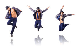 The jumping businessman isolated on white Royalty Free Stock Photography