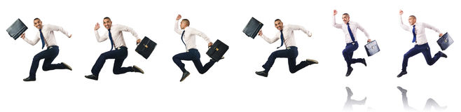 The jumping businessman isolated on white Stock Photos