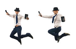 The jumping businessman isolated on white Stock Image