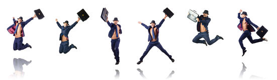 The jumping businessman isolated on white Royalty Free Stock Images