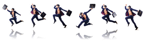 The jumping businessman isolated on white Royalty Free Stock Photo
