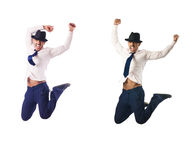 The jumping businessman isolated on white Royalty Free Stock Image
