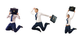 The jumping businessman isolated on white Stock Images