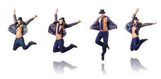 The jumping businessman isolated on white Stock Photo