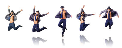 The jumping businessman isolated on white Stock Photography