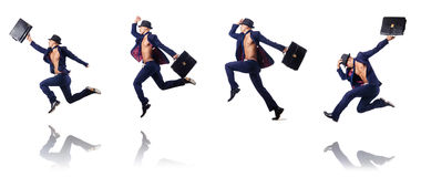 The jumping businessman isolated on white Royalty Free Stock Photos