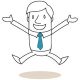 Jumping businessman with open arms Royalty Free Stock Photo
