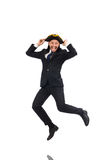 The jumping businessman wearing tricorn  on white Stock Images