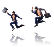 The jumping businessman  on white Royalty Free Stock Image