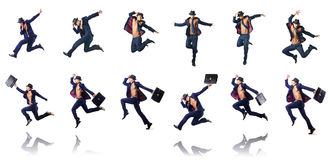 The jumping businessman  on white Stock Images