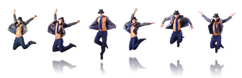 The jumping businessman  on white Royalty Free Stock Photos